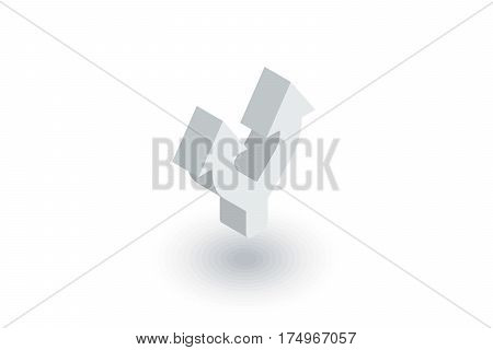 Junction, Separation, Two paths, ways isometric flat icon. 3d vector colorful illustration. Pictogram isolated on white background