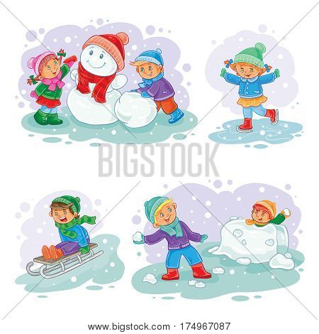 A set of icons of small children mold snowmen, playing snowballs, sledding and ice skating