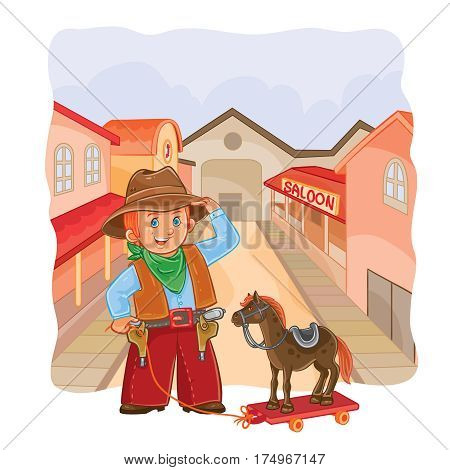 illustration of little cowboy with a wooden horse on a town background