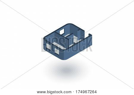 Architectural drawings. apartment plan isometric flat icon. 3d vector colorful illustration. Pictogram isolated on white background