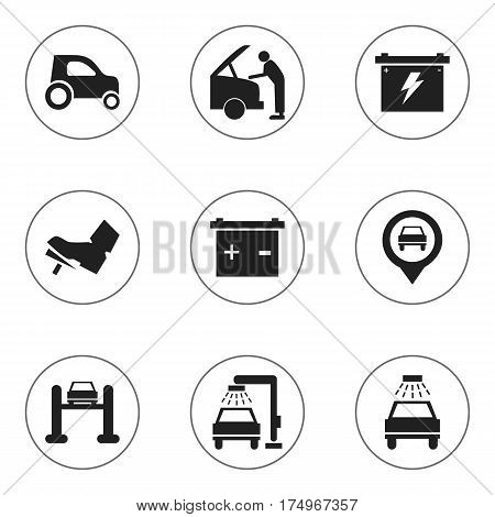Set Of 9 Editable Transport Icons. Includes Symbols Such As Battery, Treadle, Accumulator And More. Can Be Used For Web, Mobile, UI And Infographic Design.