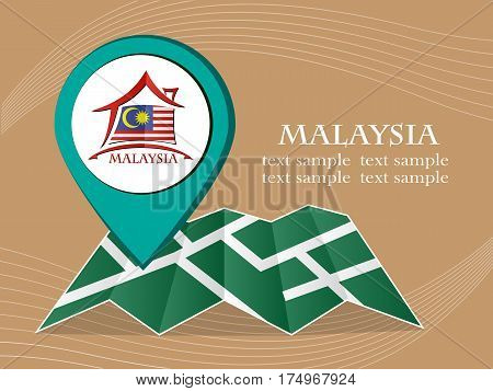 map with pointer flag Malaysia vector illustration eps 10.