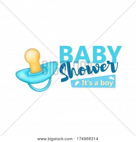 Baby Shower It's a boy text with realistic blue pacifier on the white background