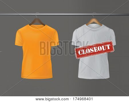 illustration of t-shirts hanging on a hanger. The announcement of discounts and sales.