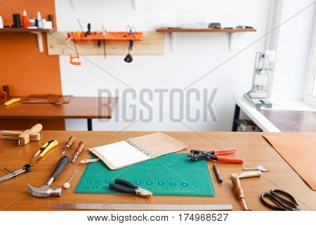 Workroom of tanner and his workplace