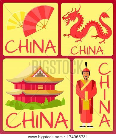 China fan, ancient soldier, red dragon and traditional building in asian style poster with yellow background. Vector illustration of traditional chinese attributes card banner in flat design