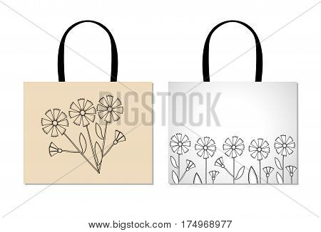 Shopping bag design template with creative black flowers. Knapweeds