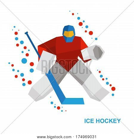 Cartoon Goalkeeper With Hockey-stick Catches The Puck