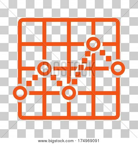 Line Plot icon. Vector illustration style is flat iconic symbol, orange color, transparent background. Designed for web and software interfaces.
