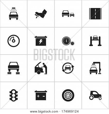 Set Of 16 Editable Traffic Icons. Includes Symbols Such As Auto Repair, Accumulator, Car Fixing And More. Can Be Used For Web, Mobile, UI And Infographic Design.