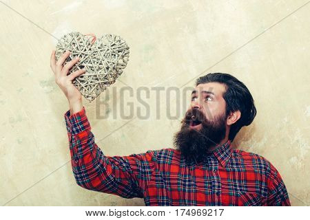 Surprised Bearded Man Shouting With Wicker Heart