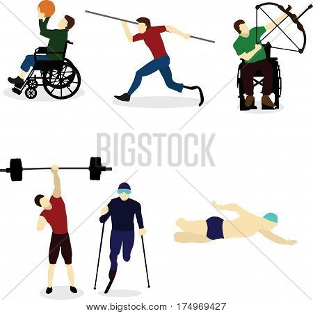 Disable Handicap Sport swimming, running weightlifting archery