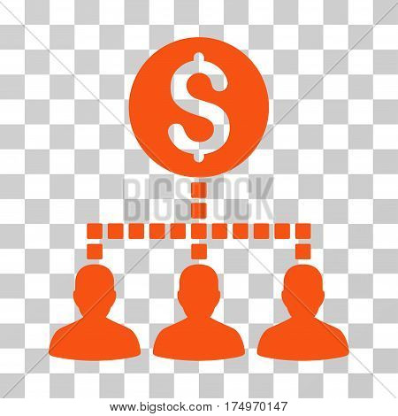 Money Recipients icon. Vector illustration style is flat iconic symbol, orange color, transparent background. Designed for web and software interfaces.