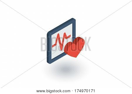 ECG, cardiogram isometric flat icon. 3d vector colorful illustration. Pictogram isolated on white background