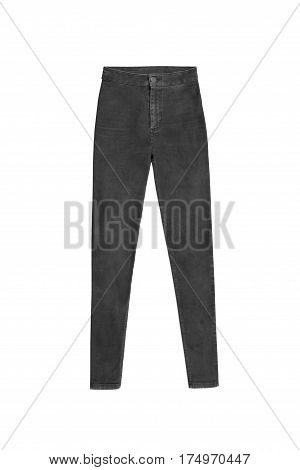 Dark Gray Skinny High Waist Jeans Pants, Isolated On White Background