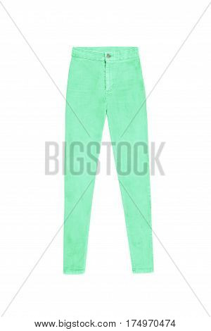 Mint Green Skinny High Waist Jeans Pants, Isolated On White Background
