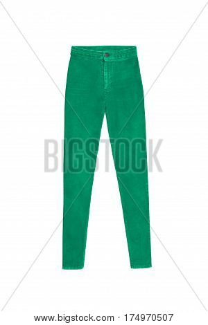 Green Skinny High Waist Jeans Pants, Isolated On White Background
