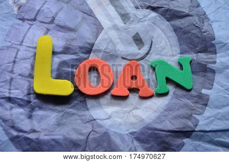 word loan on a  abstract colorful background