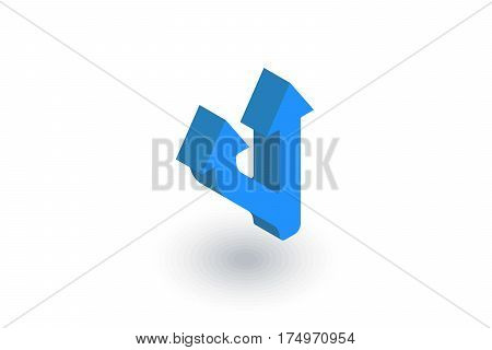 Junction Road Sign - Separation, Ttwo ways isometric flat icon. 3d vector colorful illustration. Pictogram isolated on white background