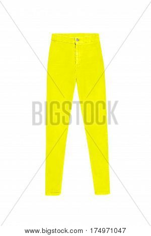 Yellow Skinny High Waist Jeans Pants, Isolated On White Background