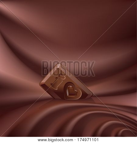 wavy choco background melted chocolate and a small piece of chocolate