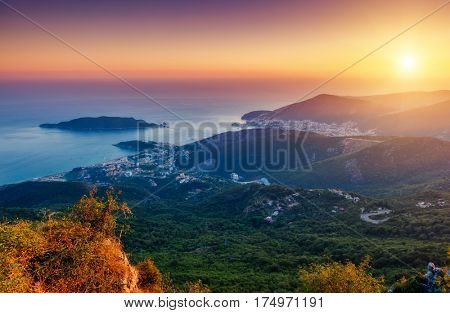 Aerial view of the Adriatic sea and Budva riviera. Dramatic and gorgeous scene. Location place Montenegro resort, balkan peninsula, Europe. Drone photography. Discover the world of beauty.