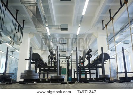 Empty gym with sport equipment