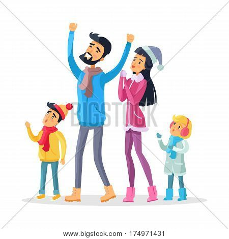 Family of four in warm winter clothes celebrate New Year and look up. Joyful young man with raised hands, woman in Snow-maiden cap and two children together enjoy life and demonstrate emotions. Vector
