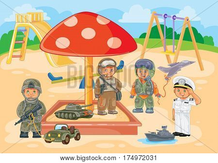 illustration small children airman, soldier, sailor and tanker playing in the playground