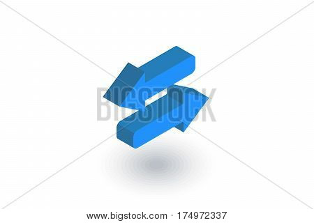 Arrows Exchange isometric flat icon. 3d vector colorful illustration. Pictogram isolated on white background