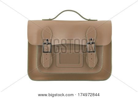 Brown satchel isolated on a white background