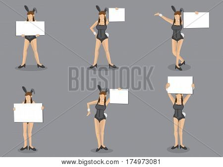 Set of six vector cartoon illustrations of young girl in black sexy bunny costume and bunny ears holding a blank placard with copy space isolated on grey background.
