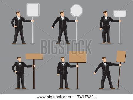 Set of six vector illustration of cartoon man in black formal suit with bow tie holding blank sign post of different shapes isolated on grey background.