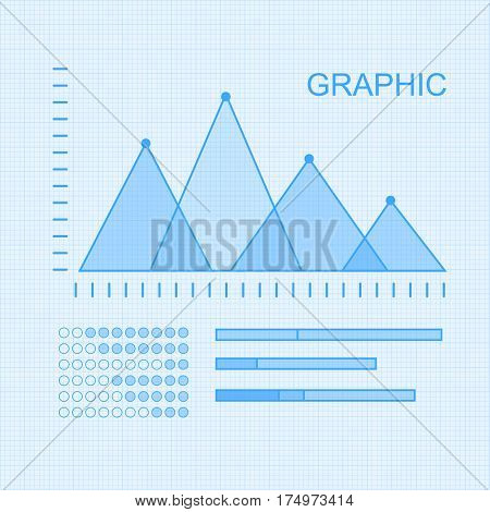 Set of graphic symbols for infographics. Statistic information presentation vector elements. Graphics peaks and column diagrams on checkered graph paper for business, social, political concepts