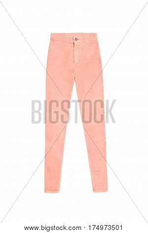 Orange Coral Skinny High Waist Jeans Pants, Isoalted On White Background