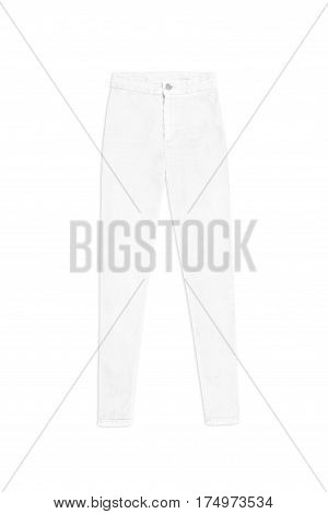 White Skinny High Waist Jeans Pants, Isolated On White Background