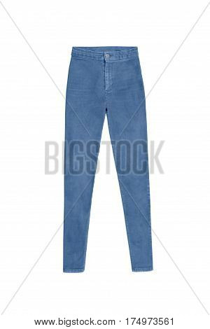 Blue Skinny High Waist Jeans Pants, Isolated On White Background