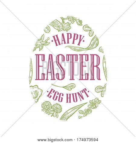 Egg with flower blooming branch leaves grass. Happy Easter lettering. Vector color vintage engraving illustration. Isolated on white background.