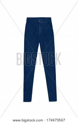Dark Blue Skinny High Waist Jeans Pants, Isolated On White Background