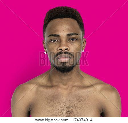 Men Portrait Serious Thoughful Studio