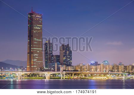 Seoul City At Night And Han River, Yeouido, South Korea.