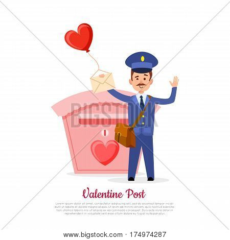 Valentine post and isolated mailman with bag, letter and heart balloon in hand on white. Pink mailbox with red heart and postman that waves and text. Vector illustration of Valentine s delivery