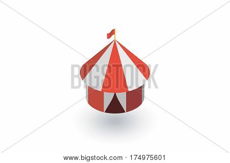 Circus tent isometric flat icon. 3d vector colorful illustration. Pictogram isolated on white background