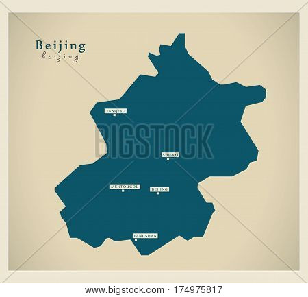 Modern Map - Beijing Cn Region Illustration Silhouette