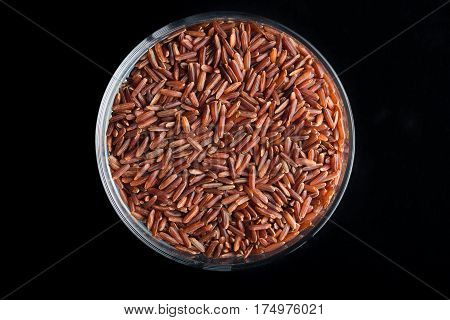 Red rice grains closeup. Bhutanese. Unpolished uncooked natural diet raw for traditional asian cuisine dish. Popular agriculture cereal. Texture pattern background copy space.