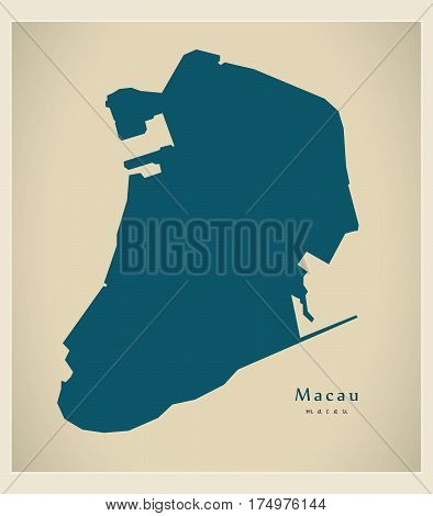 Modern Map - Macau Cn Region Illustration Silhouette