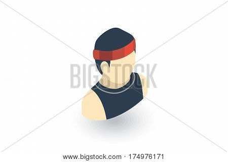 sportsman, running isometric flat icon. 3d vector colorful illustration. Pictogram isolated on white background