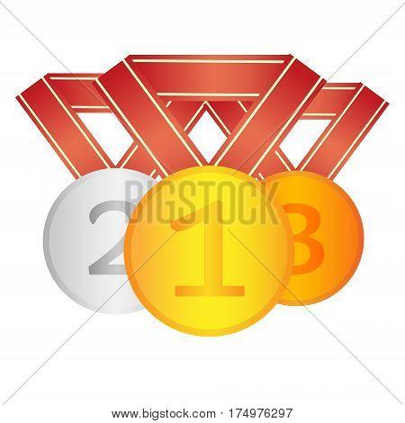 Winner medals. First second third place awards.