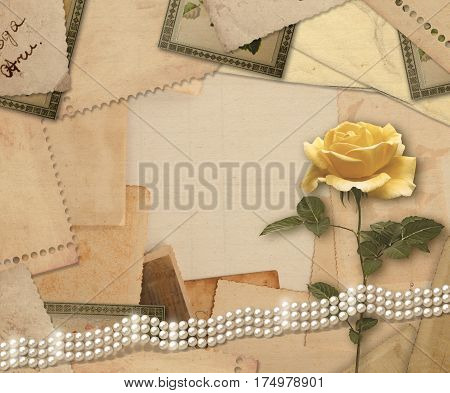 Old Vintage Archive With Photos, Letters, Pearls And  Roses