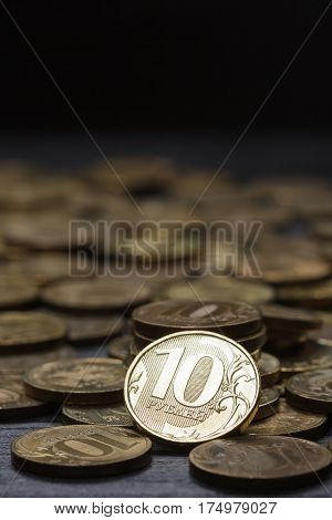 Russian currency iron modern coins on a black background